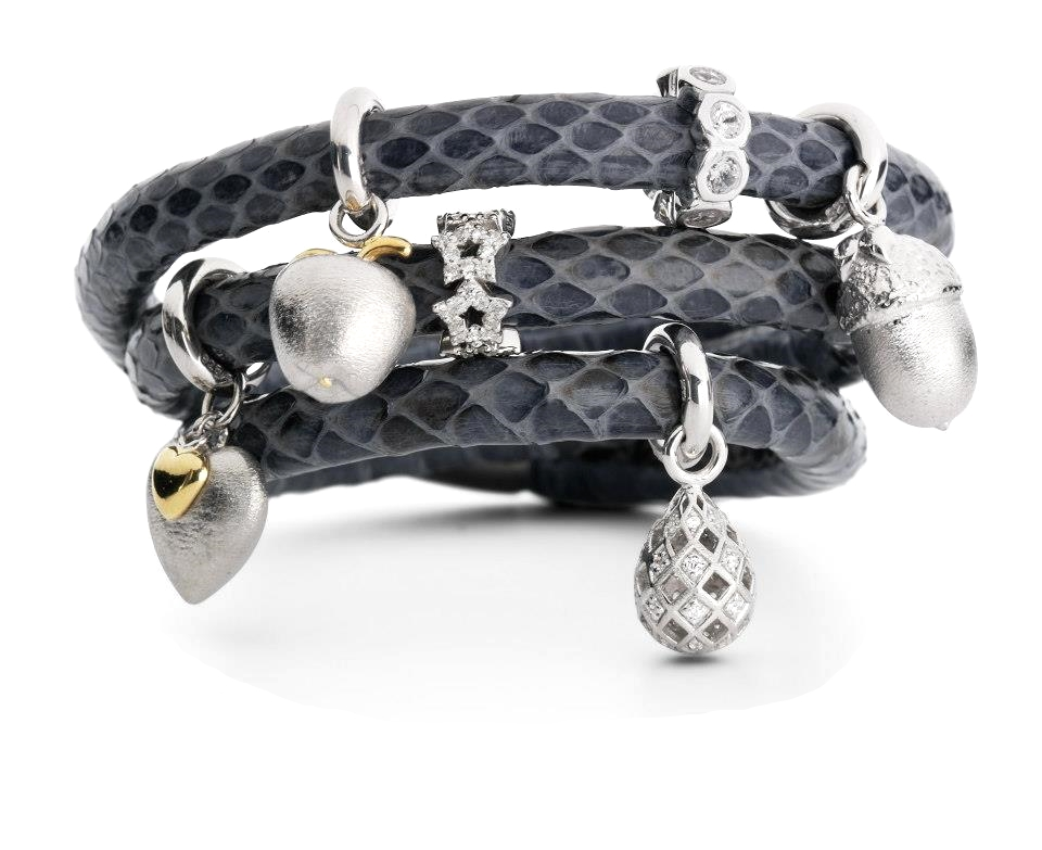 Snake skin leather wrap bracelet with silver charms