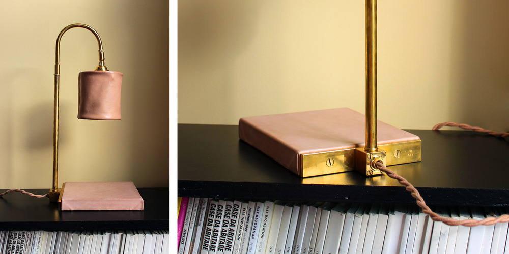 First prototype of the Series 01 Desk Lamp, serial number 01-001.Leather and brass,2014.