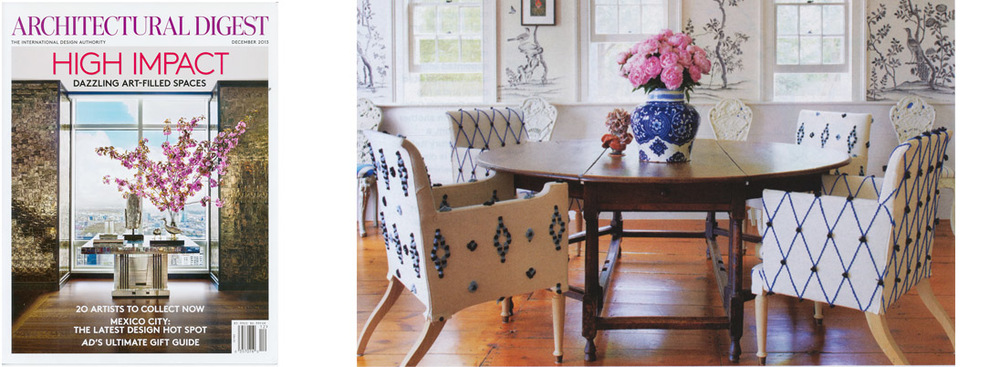 Custom dining chairs for Cindy Sherman, featured in Architectural Digest,  December 2013 .            download pdf
