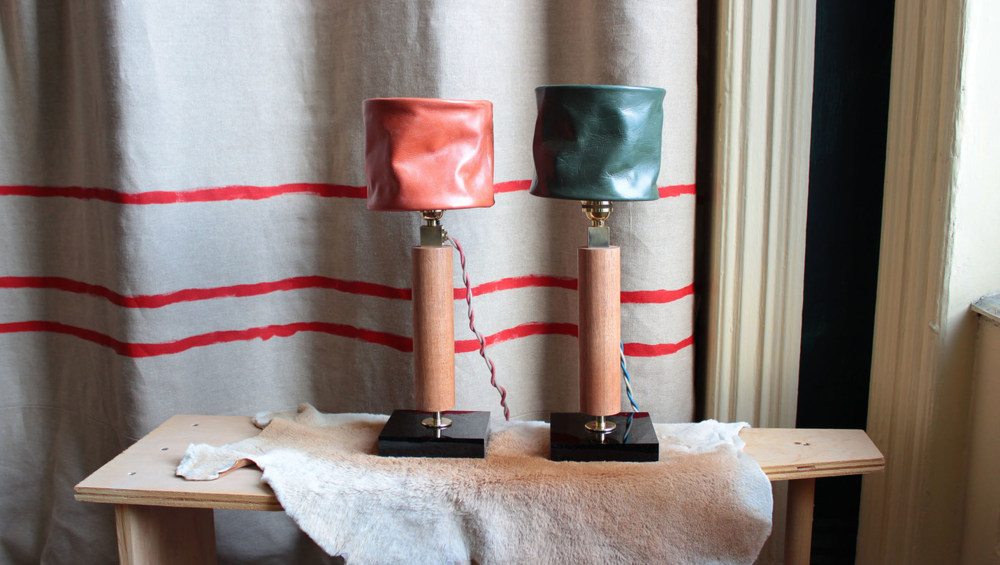 Desk lamps in leather, mahogany, brass and acrylic,2014.