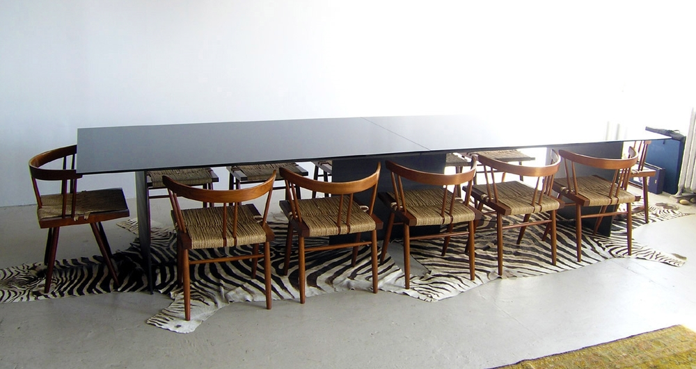 Custom dining table, black glass and steel (shown with original Nakashima dining chairs),  2010 .