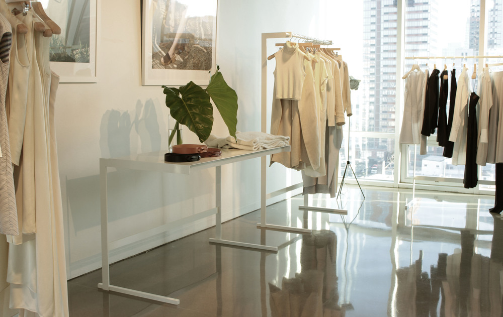 """""""Untitled"""" showroom racks and tables for Rosetta Getty and Creatures of the Wind, painted steel, 2014."""