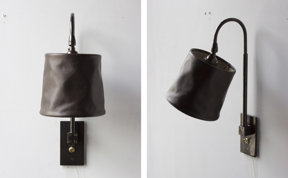 Series 01 Large Sconce, sable leather and dark patinated brass,2016.