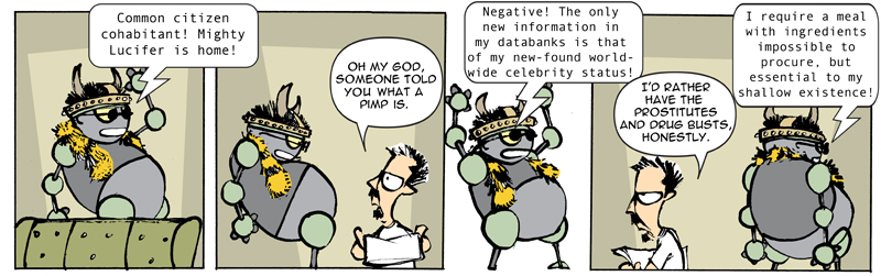 """TOBY, Robot Satan"" daily strip"