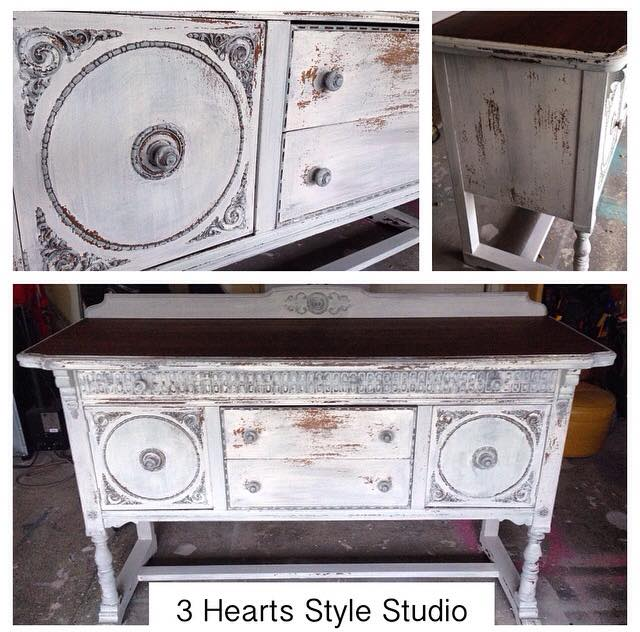 Antique Buffet Rustic White   Painted Furniture Collection Denver, Colorado