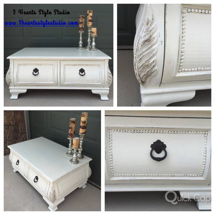 Rustic Industrial Farmhouse Furniture Denver Colorado - White french style coffee table