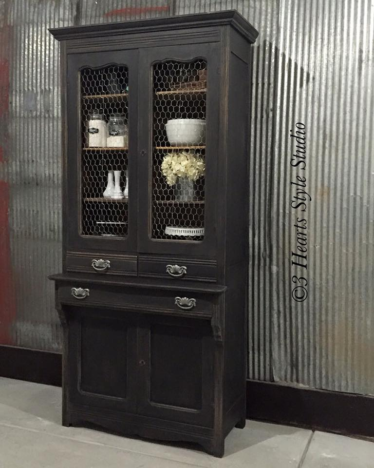Weathered Black French Style Antique Hutch   Painted Furniture Collection  Denver, Colorado