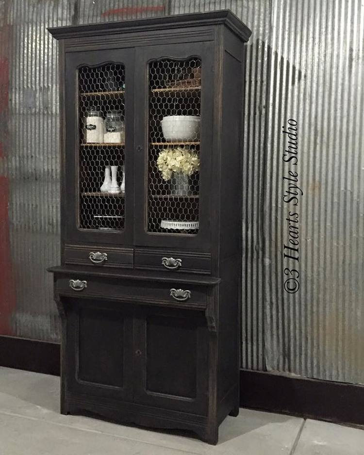 Weathered Black French Style Antique Hutch - Painted Furniture Collection  Denver, Colorado - Rustic Industrial Farmhouse Furniture Denver, Colorado