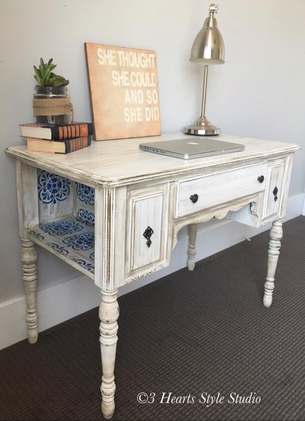 Shabby Chic Antique White Desk - Painted Furniture Collection Denver,  Colorado - Rustic Industrial Farmhouse Furniture Denver, Colorado