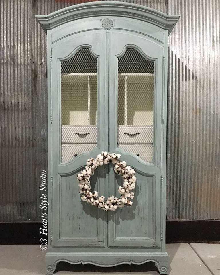 Blue French Provincial Shabby Chic Armoire   Painted Furniture Collection  Denver, Colorado