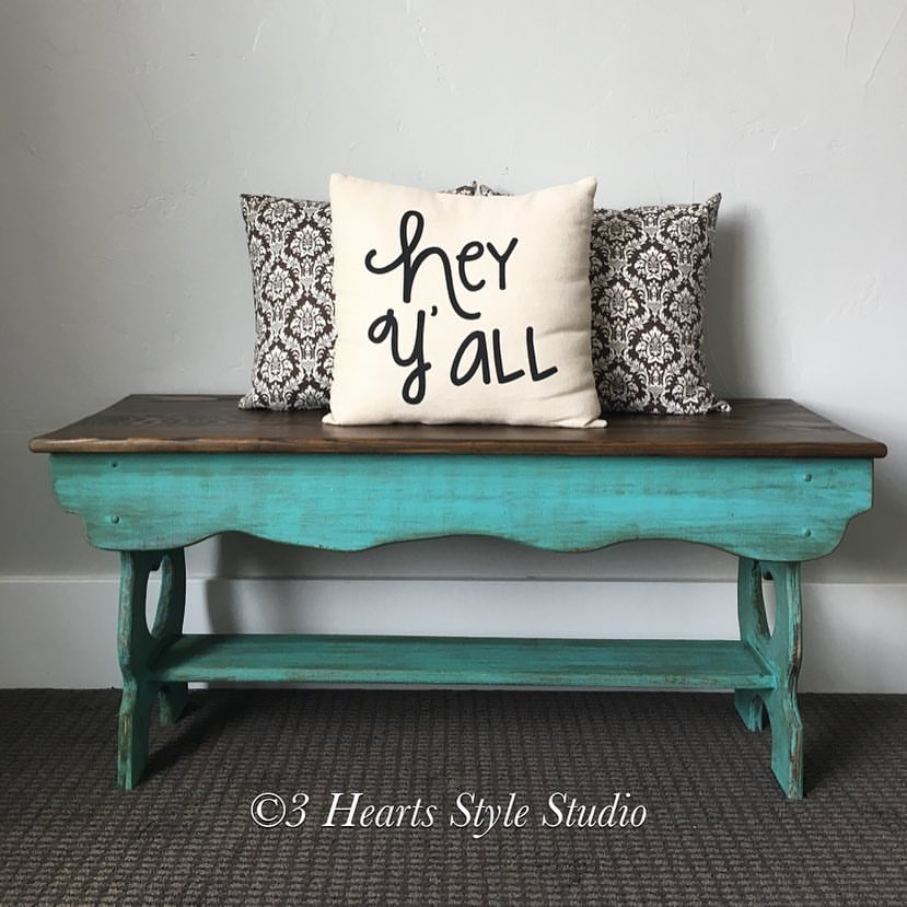 Turquoise Rustic Wood Bench   Painted Furniture Collection Denver, Colorado
