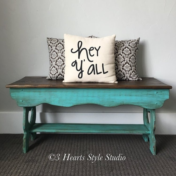 Turquoise Rustic Wood Bench