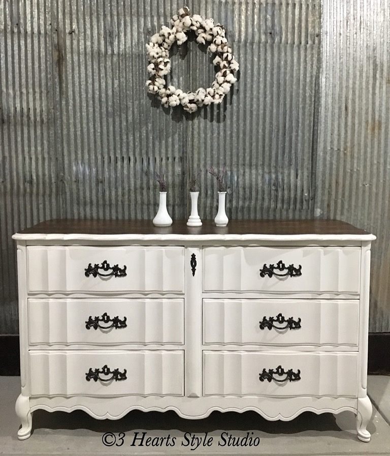 White Shabby Chic French Provincial Dresser   Painted Furniture Collection  Denver, Colorado