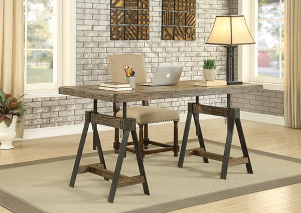 3 Hearts Style Furniture Collections Denver Colorado Industrial Wood Iron Writing Desk Dining Table