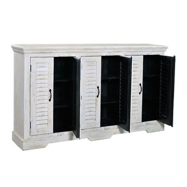 3 Hearts Style Furniture Collections Denver, Colorado  Shabby Chic White  Shutter Door Media Console