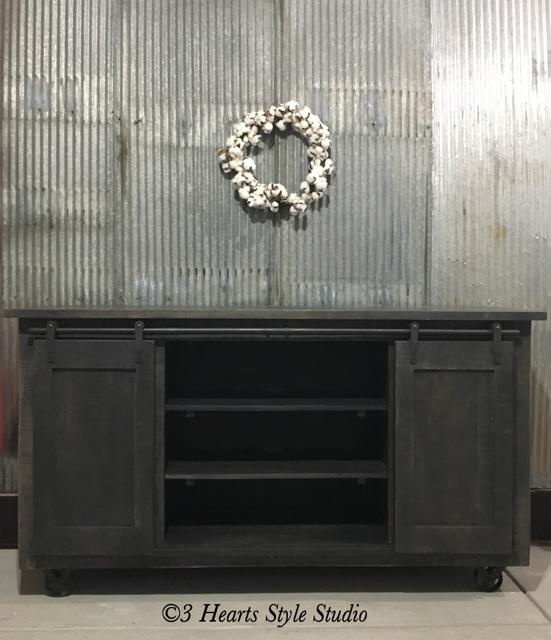 3 Hearts Style Furniture Collections Denver, Colorado  Industrial Rolling  Barndoor Sideboard