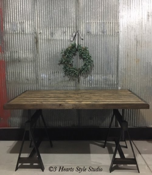 wood and metal dining furniture hearts style collections industrial iron writing desk table monterrey loft reclaimed adjustable wrought