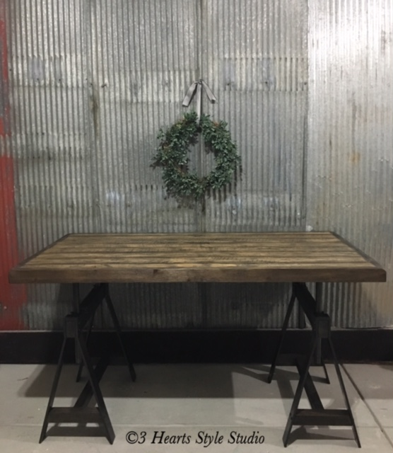 Rustic Industrial Iron and Wood Adjustable Height Desk Furniture Denver Colorado