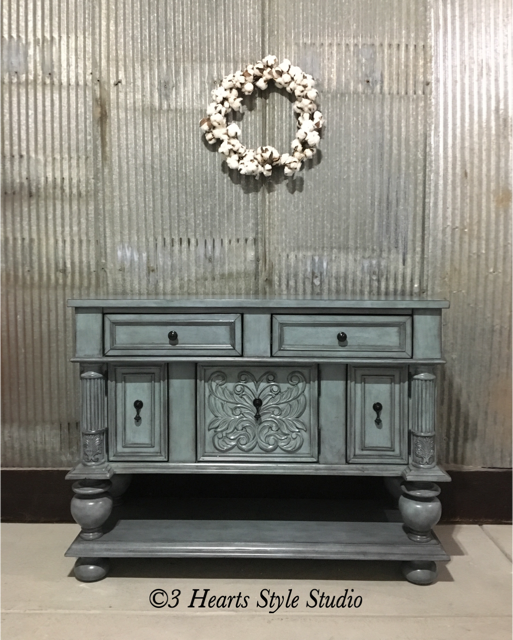 Blue Antique Buffet Sideboard Rustic Farmhouse Furniture Denver Colorado