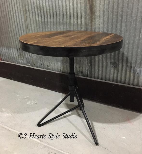 Rustic Industrial Height Adjustable Side Table Denver Colorado
