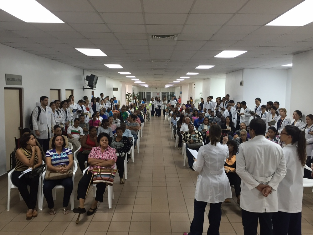 Prospective patients attend a pre-operative class at the Hospital General de la Plaza de la Salud in Santo Domingo, Dominican Republic. Educating patients about what to expect before and after surgery is an essential part of total joint replacement.