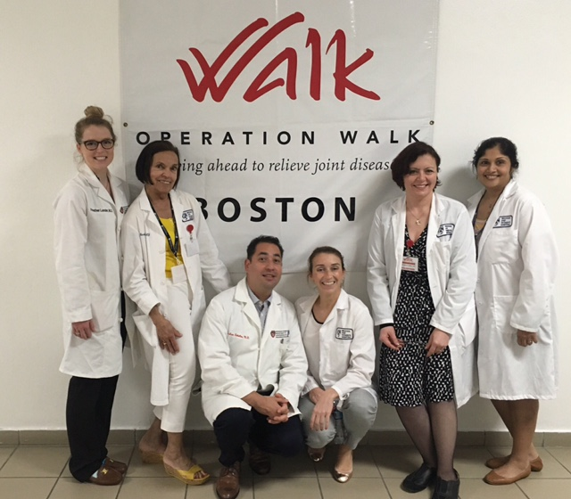 The group of anesthetists on Op Walk Boston 2016.From left to right, Heather Lander MD (resident), Mercedes Concepcion MD, Jose Zeballos MD, Meryn Boraski CRNA, Daniela Lazea MD, Archana O'Neill MD.