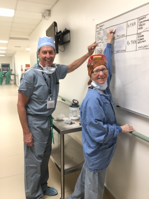 Paul and Judy working hard as always to keep the operating rooms running smoothly.