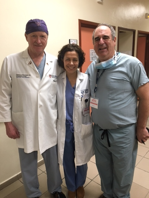 Dr. Thornhill, Roya, and Dr. Katz making afternoon patient rounds.
