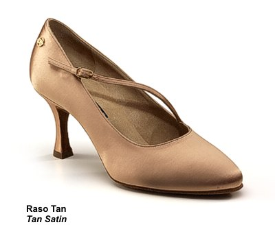 A typical ladies' Standard dance shoe (for Waltz, Tango, Foxtrot, Quickstep, and Viennese Waltz).