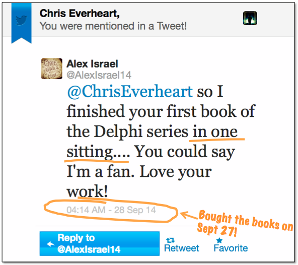 A tweet from an excited - and fast - reader!
