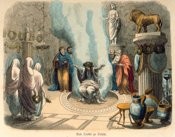 The Pythia in her chamber - known as the Adyton - under the Temple of Apollo at Delphi, casting oracles.