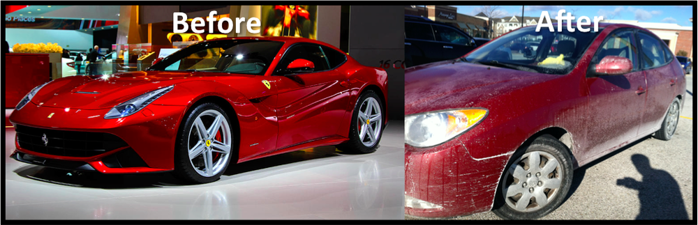 Minnesota winter is hard on cars. Look what the snow and slush and salt did to my Ferrari!