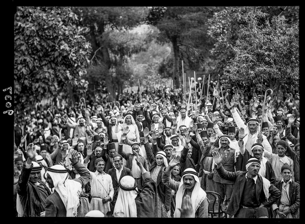 Palestinian Arabs at Abou Ghosh taking the oath of allegiance to fight Zionist immigration. 1936