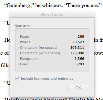 My 70k word count milestone for Blood, Ink & Fire.