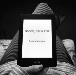 The Blood, Ink & Fire e-ARC on the Kindle Paper White.