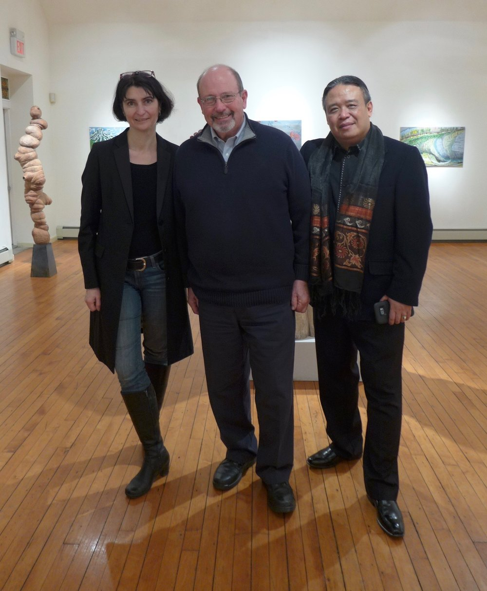 With friend Bill Graziano and curator/director of the gallery Tjokorda  Gde  Arsa Artha, following installation.