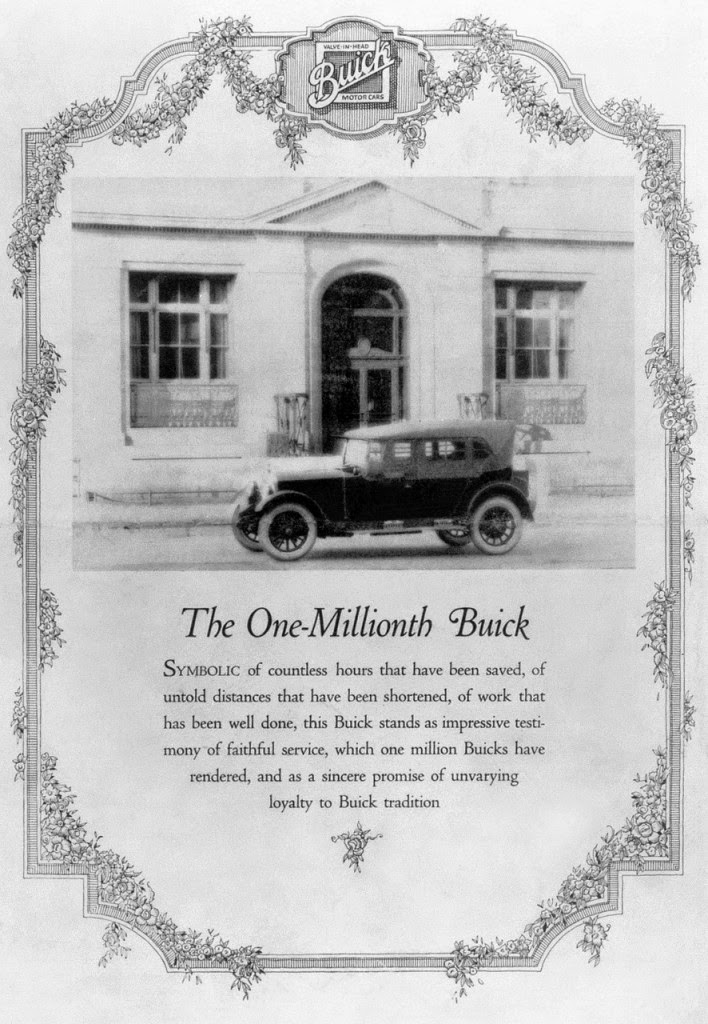 1923 Buick Ad for 1 millionth Buick sold