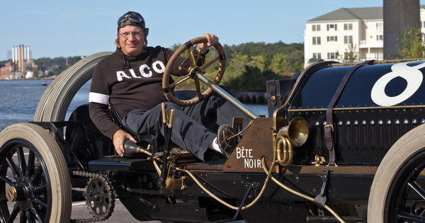 Howard Kroplick in his 1909 Alco-6 Racer 'Black Beast'