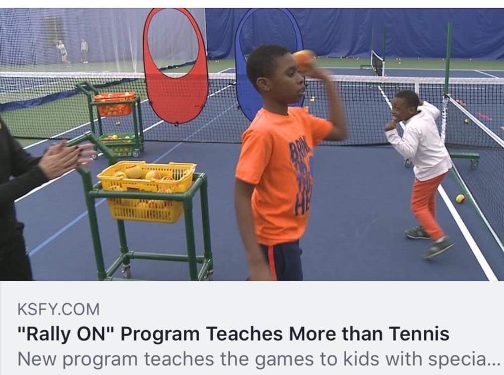 "KSFY  ""Rally ON"" Program Teaches More than Tennis    You can tell by watching them play, that 10-year old Kela and and 6-year old Camron Semon love to play tennis. ""I love this one, and love the balls. I love to hit the balls with my racket."" says Kela. This weekly lesson at Huether Family Match Pointe is something...the brothers look forward to.  Read more...."