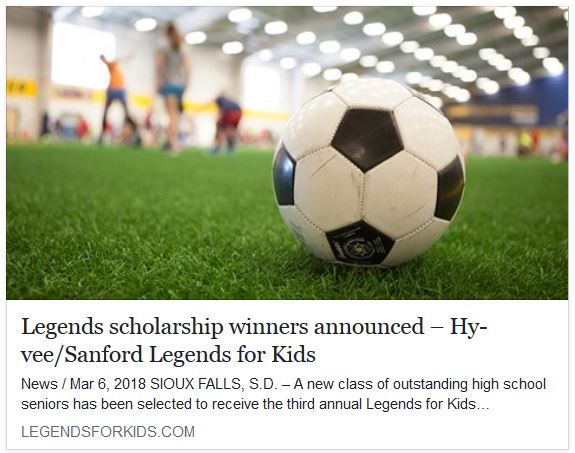 Congratulations Kevin Shan for winning a $5,000 Sanford Legends for Kids Scholarship!! Kevin is now part of an outstanding group of high school seniors that has been selected to receive the third annual Legends for Kids Scholarship.... READ MORE