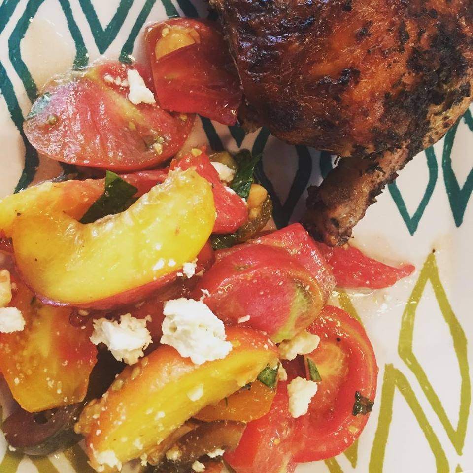 Boda's Kitchen  makes their infamous peach tomato salad that is so refreshing and savory good!