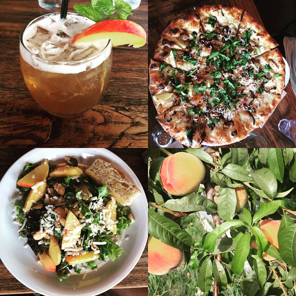 Solstice Pizza  is featuring our peaches in a bourbon drink, salad and peach and sausage pizza!