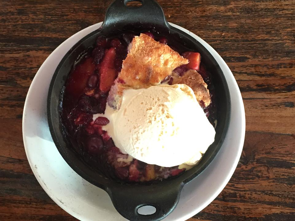 This peach and blueberry cobbler at  Solstice Pizza  was one of the best i have ever had! Yum!