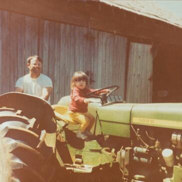 Katrina on tractor