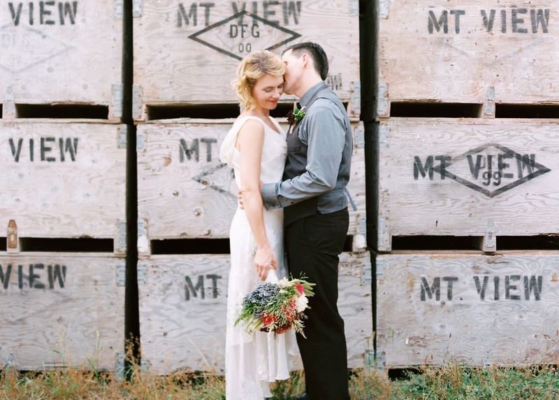 Photo by Simply-Splendid of a lovely couple in front of our Wooden Fruit bins..