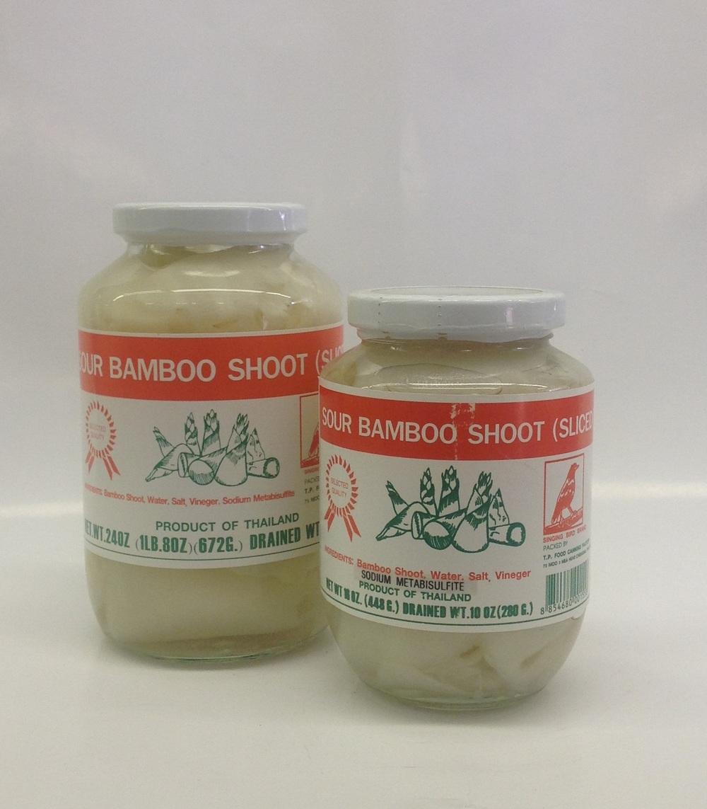 Sour Bamboo Shoot, Sliced    Singing Bird    BBS1972 12x24 oz    BBS1973 24x16 oz
