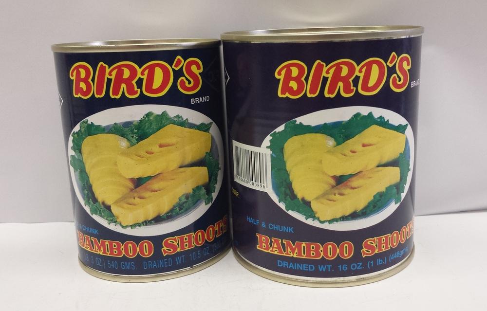 Bamboo Shoot, Half & Chunk    Bird's    BBH1100 24x30 oz    BBH1103 24x20 oz    BBH1105 6x5 lbs