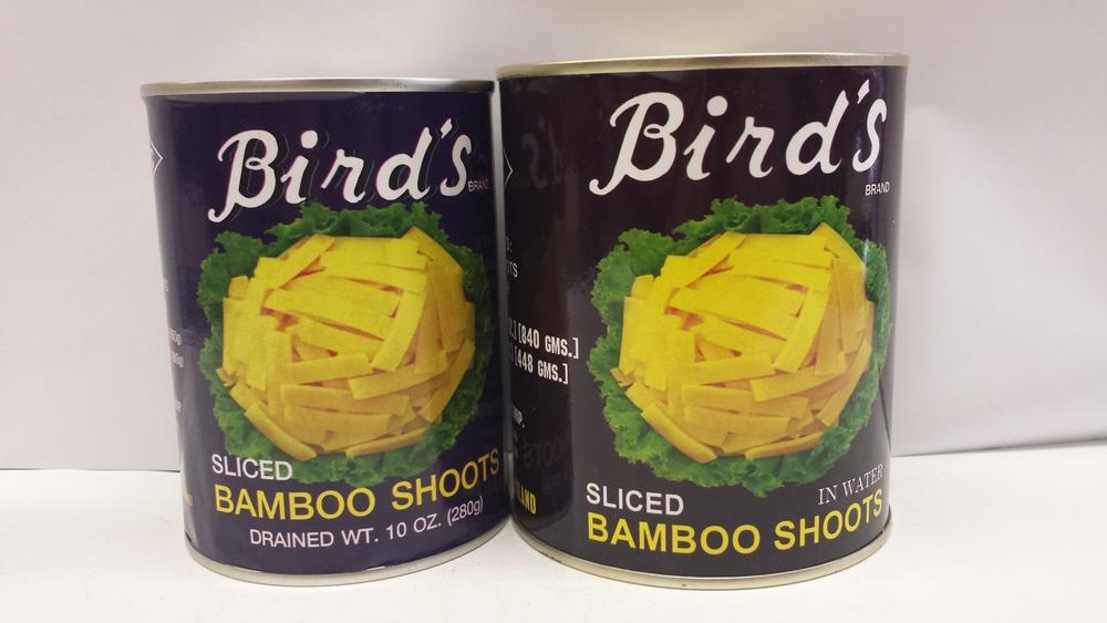 Bamboo Shoot, Sliced    Bird's    BBL1102 24x19 oz    BBL1103 24x30 oz    BBL1605 6x5 lbs