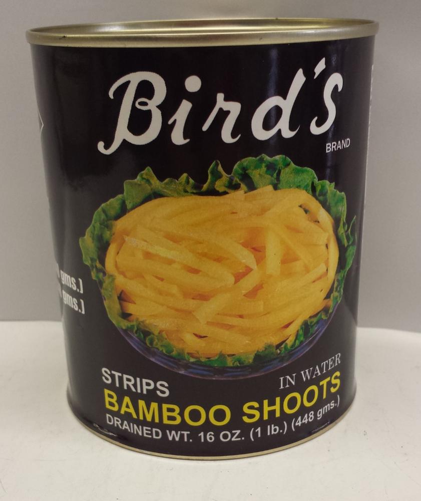 Bamboo Shoots, Strips in Water    Bird's    BBS1100 6x5 lbs    BBS1105 24x20 oz    BBS1106 24x30 oz
