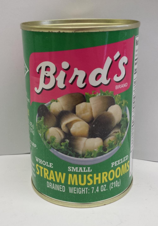Straw Mushroom, Peeled    Bird's   MU17258 24x15 oz (Large)  MU17259 24x15 oz (Small)  MU17260 24x15 oz (Med.)